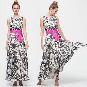 Eliza J Printed Chiffon Pleated Maxi Dress